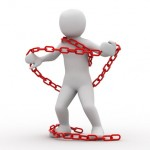 3d person and red chain on white background